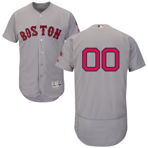 Men's Majestic Boston Red Sox Customized Grey Road Flex Base Authentic Collection MLB Jersey