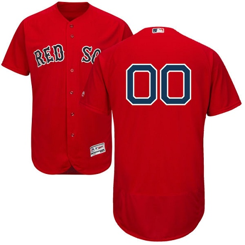 Men's Majestic Boston Red Sox Customized Red Alternate Flex Base Authentic Collection MLB Jersey