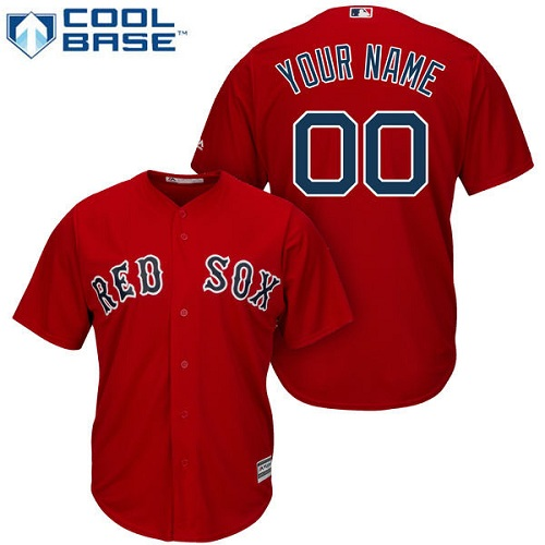 Men's Majestic Boston Red Sox Customized Replica Red Alternate Home Cool Base MLB Jersey