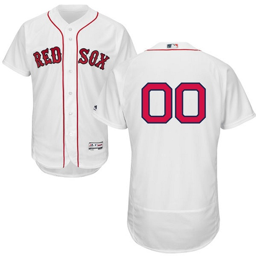 Men's Majestic Boston Red Sox Customized White Home Flex Base Authentic Collection MLB Jersey