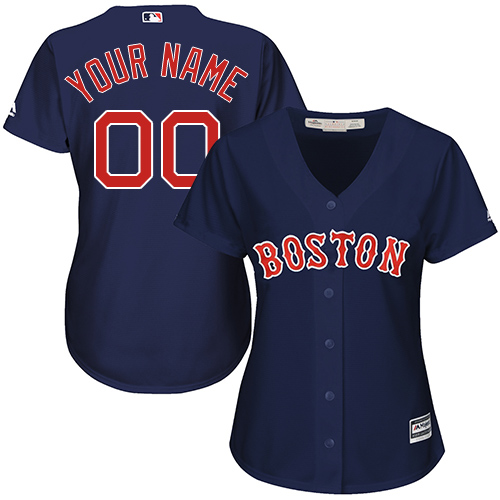 Women's Majestic Boston Red Sox Customized Replica Navy Blue Alternate Road Cool Base MLB Jersey