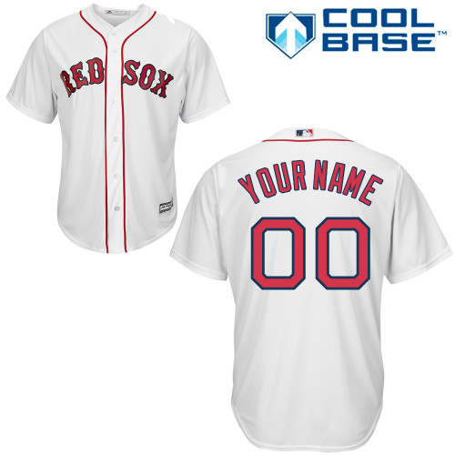 Youth Majestic Boston Red Sox Customized Authentic White Home Cool Base MLB Jersey