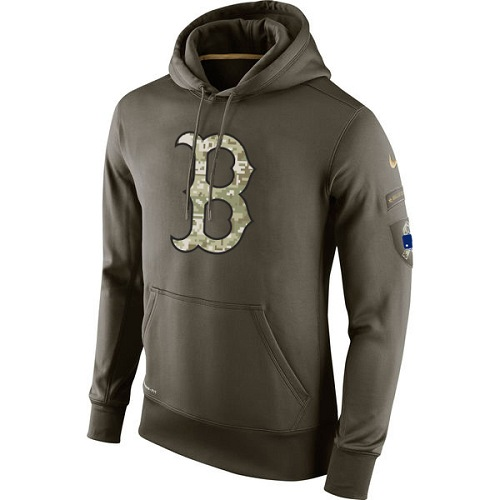 MLB Boston Red Sox Nike Olive Salute To Service KO Performance Hoodie