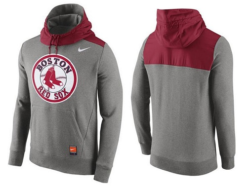 MLB Men's Boston Red Sox Nike Gray Cooperstown Collection Hybrid Pullover Hoodie