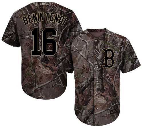 Men's Majestic Boston Red Sox #16 Andrew Benintendi Authentic Camo Realtree Collection Flex Base MLB Jersey