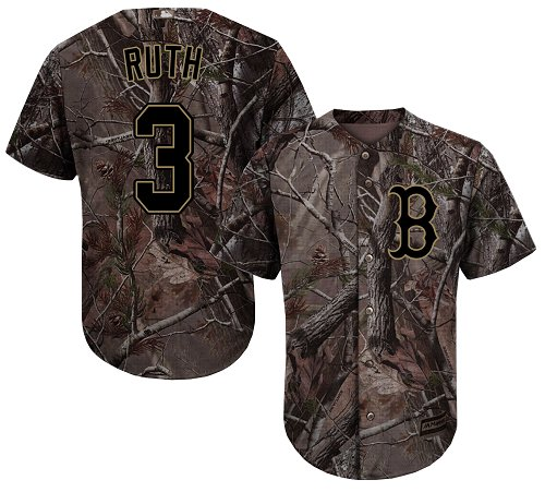 Men's Majestic Boston Red Sox #3 Babe Ruth Authentic Camo Realtree Collection Flex Base MLB Jersey