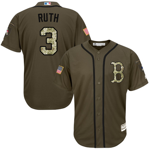 Men's Majestic Boston Red Sox #3 Babe Ruth Authentic Green Salute to Service MLB Jersey