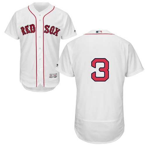 Men's Majestic Boston Red Sox #3 Babe Ruth White Flexbase Authentic Collection MLB Jersey