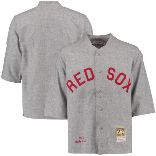 Men's Mitchell and Ness 1914 Boston Red Sox #3 Babe Ruth Replica Grey Throwback MLB Jersey