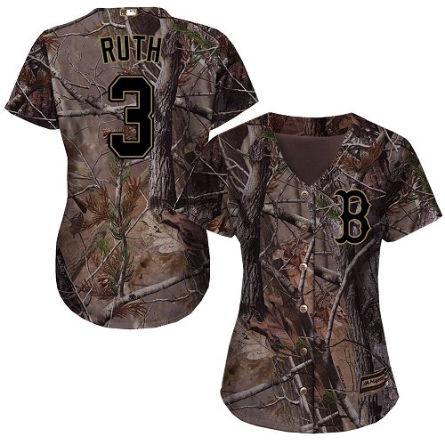 Women's Majestic Boston Red Sox #3 Babe Ruth Authentic Camo Realtree Collection Flex Base MLB Jersey