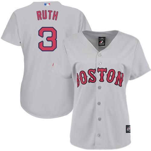 Women's Majestic Boston Red Sox #3 Babe Ruth Replica Grey Road MLB Jersey