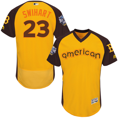 Men's Majestic Boston Red Sox #23 Blake Swihart Yellow 2016 All-Star American League BP Authentic Collection Flex Base MLB Jersey