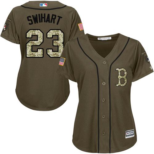 Women's Majestic Boston Red Sox #23 Blake Swihart Authentic Green Salute to Service MLB Jersey