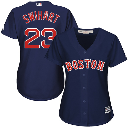 Women's Majestic Boston Red Sox #23 Blake Swihart Authentic Navy Blue Alternate Road MLB Jersey
