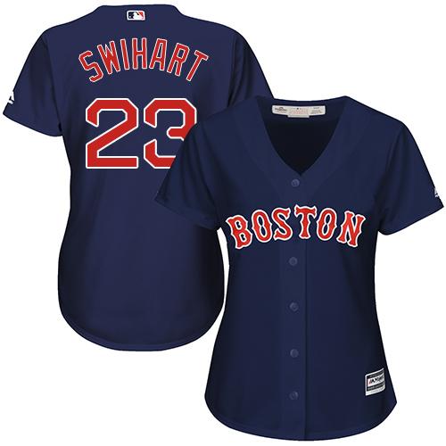 Women's Majestic Boston Red Sox #23 Blake Swihart Replica Navy Blue Alternate Road MLB Jersey