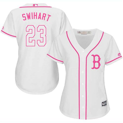 Women's Majestic Boston Red Sox #23 Blake Swihart Replica White Fashion MLB Jersey