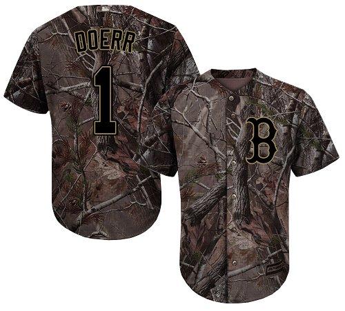 107b7bcb4 Men s Majestic Boston Red Sox  1 Bobby Doerr Authentic Camo Realtree  Collection Flex Base MLB