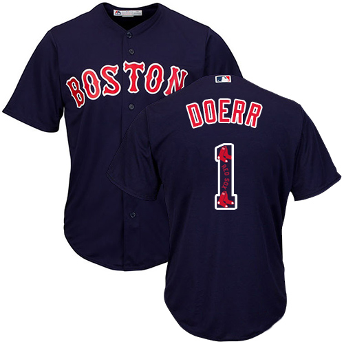 Men's Majestic Boston Red Sox #1 Bobby Doerr Authentic Navy Blue Team Logo Fashion Cool Base MLB Jersey