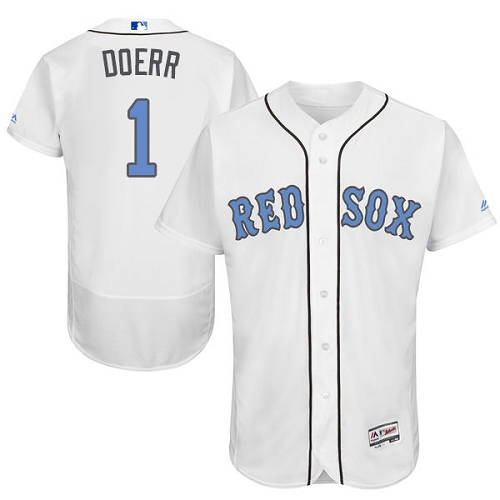 Men's Majestic Boston Red Sox #1 Bobby Doerr Authentic White 2016 Father's Day Fashion Flex Base MLB Jersey