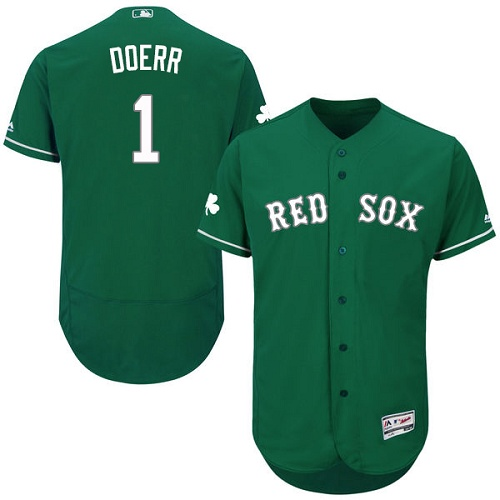 Men's Majestic Boston Red Sox #1 Bobby Doerr Green Celtic Flexbase Authentic Collection MLB Jersey
