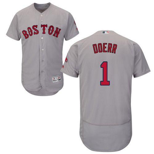 Men's Majestic Boston Red Sox #1 Bobby Doerr Grey Road Flex Base Authentic Collection MLB Jersey