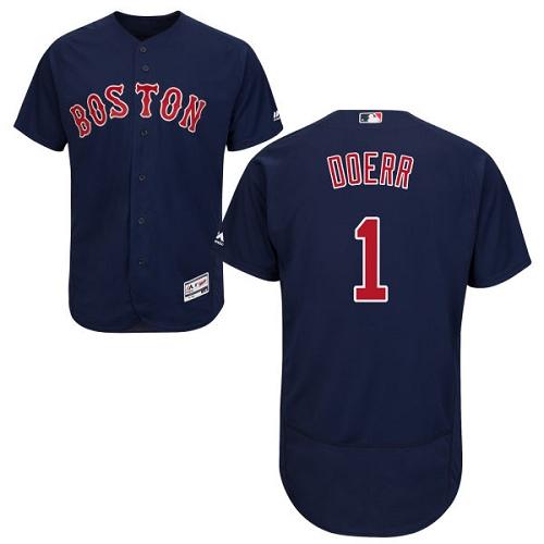 Men's Bobby Doerr Boston Red Sox #1 Navy Blue Collection MLB Jersey