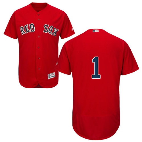 Men's Majestic Boston Red Sox #1 Bobby Doerr Red Alternate Flex Base Authentic Collection MLB Jersey