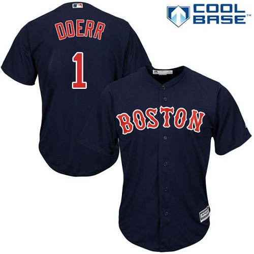 Men's Majestic Boston Red Sox #1 Bobby Doerr Replica Navy Blue Alternate Road Cool Base MLB Jersey