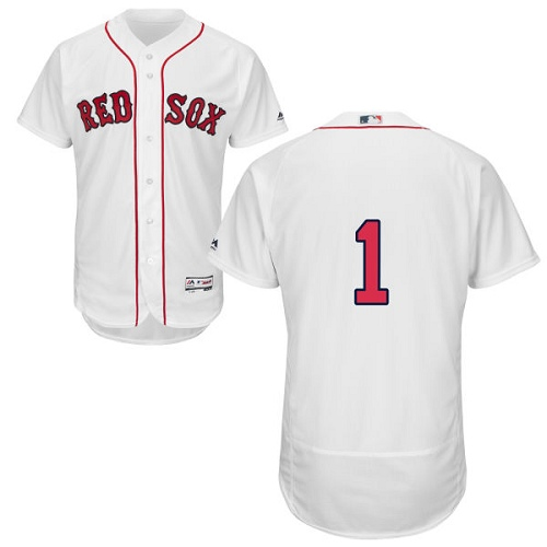 Men's Majestic Boston Red Sox #1 Bobby Doerr White Home Flex Base Authentic Collection MLB Jersey