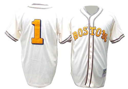 Men's Mitchell and Ness Boston Red Sox #1 Bobby Doerr Authentic Cream Throwback MLB Jersey