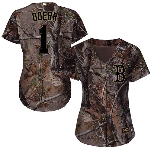 Women's Majestic Boston Red Sox #1 Bobby Doerr Authentic Camo Realtree Collection Flex Base MLB Jersey