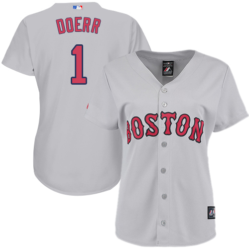 Women's Majestic Boston Red Sox #1 Bobby Doerr Authentic Grey Road MLB Jersey