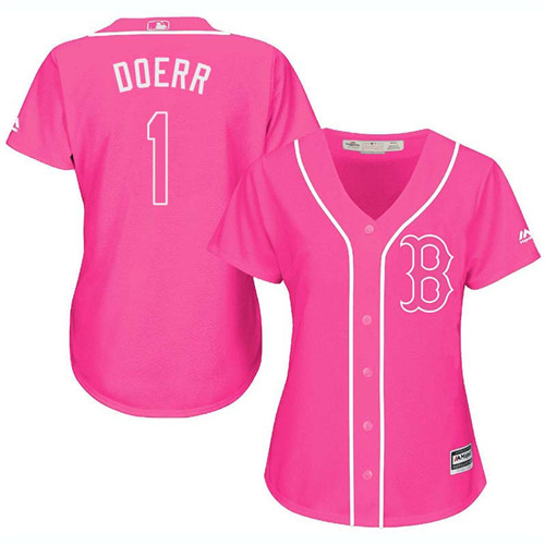 Women's Majestic Boston Red Sox #1 Bobby Doerr Authentic Pink Fashion MLB Jersey