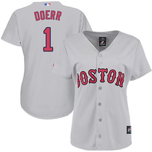 Women's Majestic Boston Red Sox #1 Bobby Doerr Replica Grey Road MLB Jersey