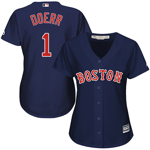 Women's Majestic Boston Red Sox #1 Bobby Doerr Replica Navy Blue Alternate Road MLB Jersey