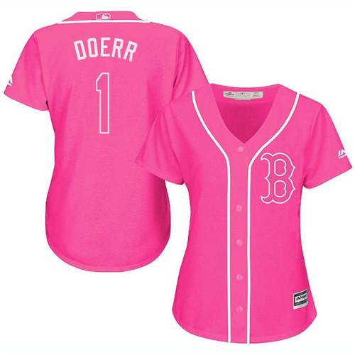 Women's Majestic Boston Red Sox #1 Bobby Doerr Replica Pink Fashion MLB Jersey