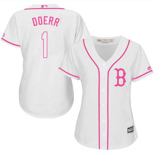 Women's Majestic Boston Red Sox #1 Bobby Doerr Replica White Fashion MLB Jersey