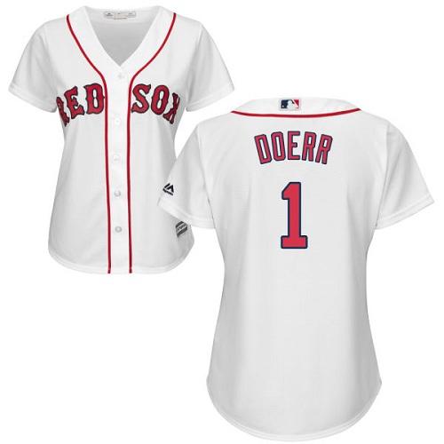Women's Majestic Boston Red Sox #1 Bobby Doerr Replica White Home MLB Jersey