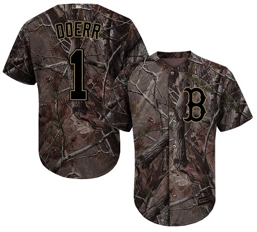 Youth Majestic Boston Red Sox #1 Bobby Doerr Authentic Camo Realtree Collection Flex Base MLB Jersey