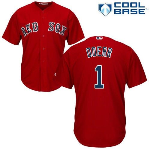 Youth Majestic Boston Red Sox #1 Bobby Doerr Authentic Red Alternate Home Cool Base MLB Jersey