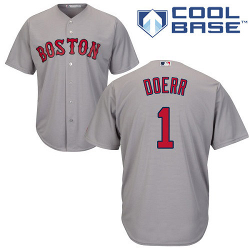 Youth Majestic Boston Red Sox #1 Bobby Doerr Replica Grey Road Cool Base MLB Jersey