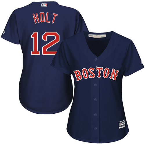 Women's Majestic Boston Red Sox #12 Brock Holt Replica Navy Blue Alternate Road MLB Jersey