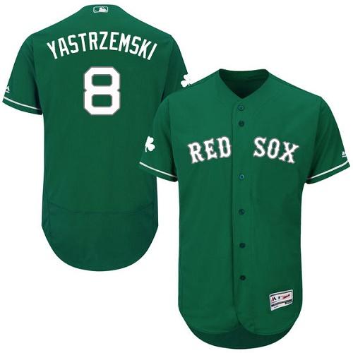 Men's Majestic Boston Red Sox #8 Carl Yastrzemski Green Celtic Flexbase Authentic Collection MLB Jersey