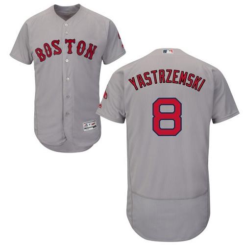 Men's Majestic Boston Red Sox #8 Carl Yastrzemski Grey Road Flex Base Authentic Collection MLB Jersey