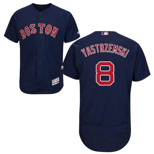Men's Majestic Boston Red Sox #8 Carl Yastrzemski Navy Blue Alternate Flex Base Authentic Collection MLB Jersey
