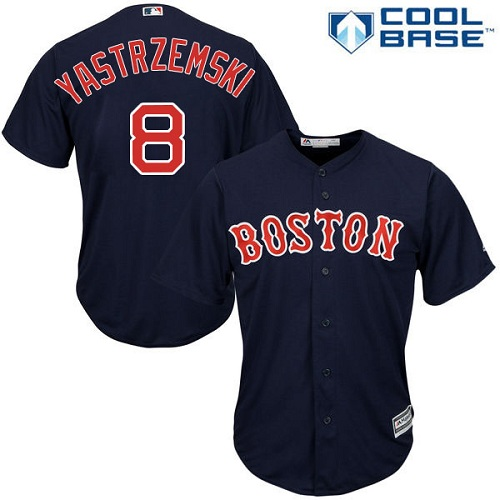 Men's Majestic Boston Red Sox #8 Carl Yastrzemski Replica Navy Blue Alternate Road Cool Base MLB Jersey