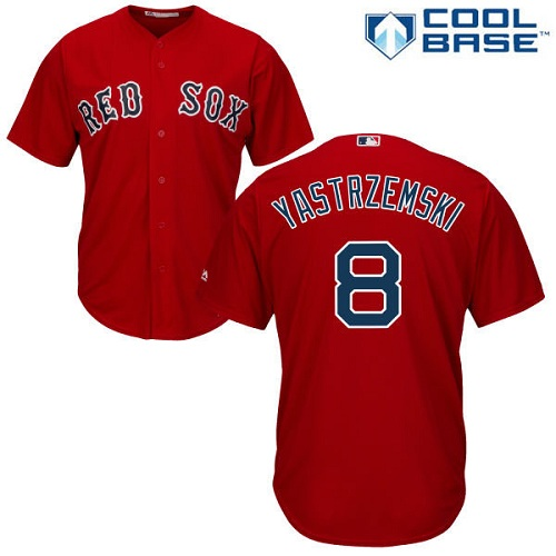 Men's Majestic Boston Red Sox #8 Carl Yastrzemski Replica Red Alternate Home Cool Base MLB Jersey