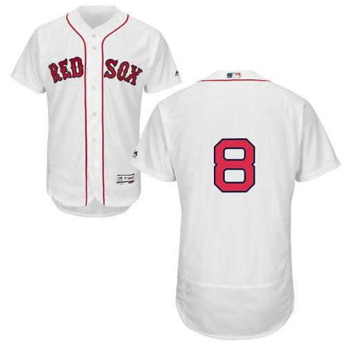 Men's Majestic Boston Red Sox #8 Carl Yastrzemski White Home Flex Base Authentic Collection MLB Jersey