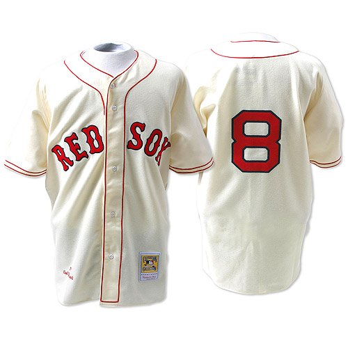 Men's Mitchell and Ness 1967 Boston Red Sox #8 Carl Yastrzemski Replica Cream Throwback MLB Jersey