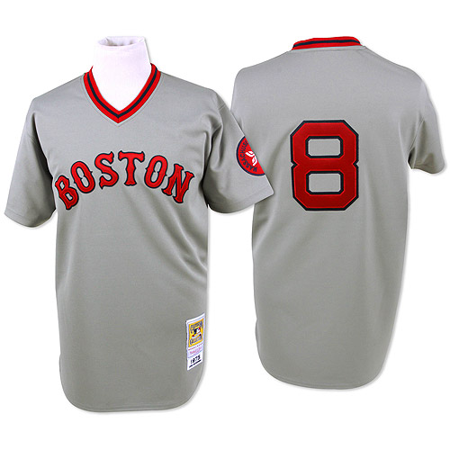 Men's Mitchell and Ness Boston Red Sox #8 Carl Yastrzemski Authentic Grey Throwback MLB Jersey